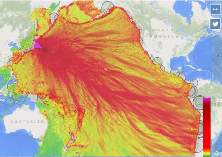 Mapa mostrando amplitudes máximas de tsunami en el Océano Pacífico del evento del 11 de marzo de 2011 en Japón.