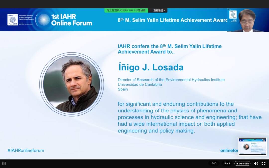 PROF. IÑIGO LOSADA RECEIVES ONE OF THE HIGHEST AWARDS OF THE  International Association for Hydro-Environment Engineering and Research (IAHR)